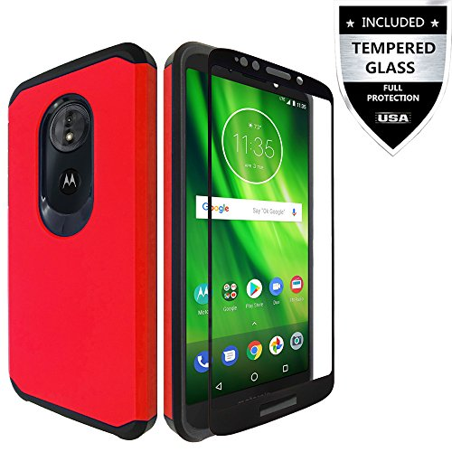 Moto E5 Play Case/Moto E5 Cruise Case With Tempered Glass Screen Protector,IDEA LINE Heavy Duty Protection Hybrid Hard Shockproof Slim Fit Cover For Motorola Moto E Play 5th Gen - Red