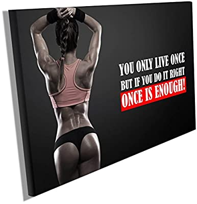 Fitness Motivation Posters Inspiration Quotes on Canvas Wall Hangings Decals Workout Bodybuilding Poster Wood Framed Waterproof size 12x18 inches CGmO48
