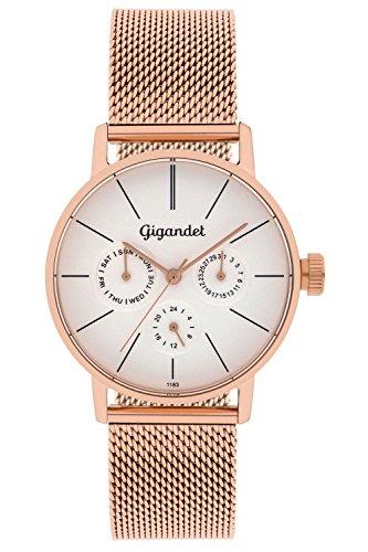 Gigandet Women's Quartz Watch Minimalism Multifunction Analog Mesh Bracelet Rose Gold Silver G38-008