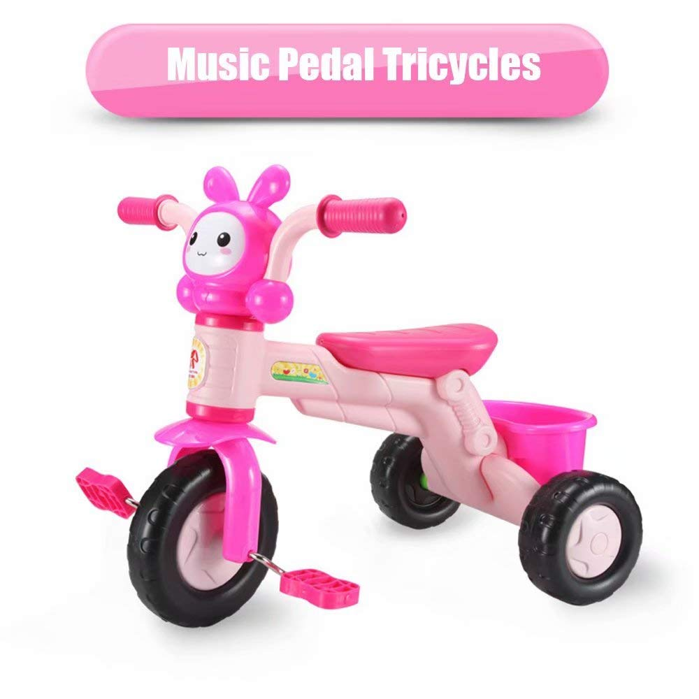 qiaoniuniu Kids' pedal Tricycles music rider trikes bike with a big rear basket for children age 2-8 Years Kids great gifts for boys girls birthday Maximum Weight 75 kg -pink by qiaoniuniu