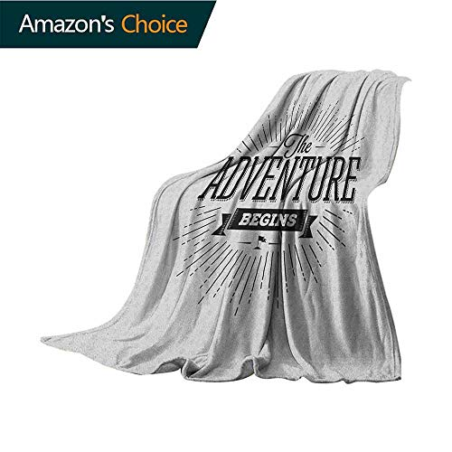Adventure Fur Blanket,Retro Beginning of The Adventure Motivational Quote on White Backdrop Vintage Microfiber All Season Blanket for Bed or Couch Multicolor,30