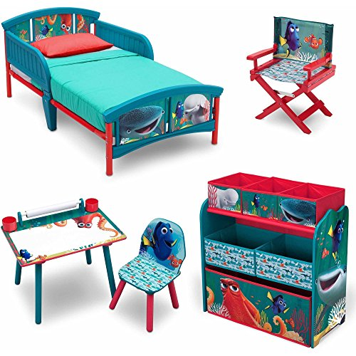 Delta Disney Finding Dory 5 Piece Furniture Kids Set - Plastic Toddler Bed, Multi-Bin Organizer, Art Desk and Chair, Director's Chair for Girls Toddler