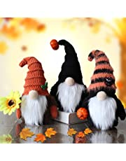 Set of 3 Fall Gnomes Autumn Gnome, Farmhouse Tiered Tray Ornaments with Pumpkin and Maple Leaves Decorations, Plush Handmade Shelf Elf Dwarf for Thanksgiving Harvest Day