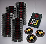 40 Digital Restaurant Coaster Black Call Pagers / Guest Table Waiting Wireless Paging System with Charging Dock and Transmitter