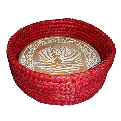 Terra Cotta Basket - Handwoven Bread Roll Basket w Lotus Terracotta Warming Tile Stone 11 Inch Width (Red)