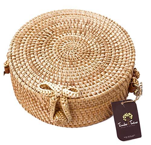 Vintage Rattan (Round Rattan Bag | Adjustable Strap | Women Handwoven Straw Crossbody Bag | Beach Summer Bag | Timber Twine)