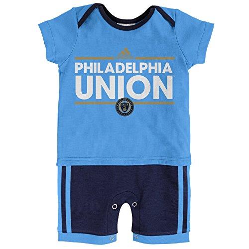 (MLS Philadelphia Union Boys Little Trainer Short Sleeve Romper, Light Blue, 24 Months)