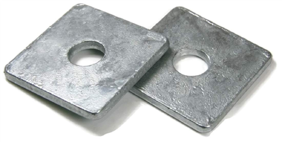 ID 11//16, OD 2, THK 0.187 Square Washers Hot Dipped Galvanized 5//8 - Qty-25