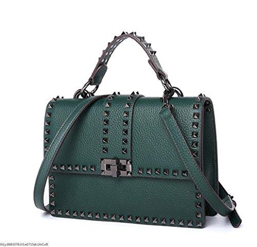 épaule en cuir fourre rivets cloutés à small Mesdames main délicate sac tout diagonale Green qX1nx0