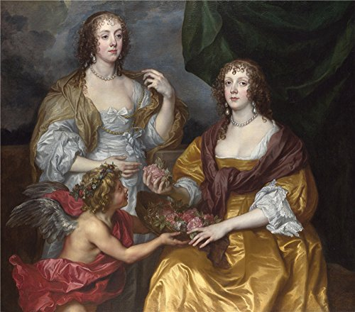 2016 Ideas Current Costumes (High Quality Polyster Canvas ,the Best Price Art Decorative Canvas Prints Of Oil Painting 'Anthony Van Dyck Lady Elizabeth Thimbelby And Her Sister ', 12 X 14 Inch / 30)