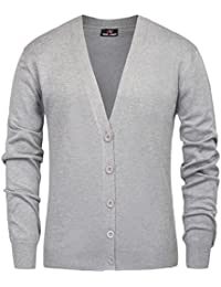 Men's Stylish V-Neck Button Placket Cardigan Sweater with Ribbing Edge