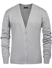 Men's Stylish V-Neck Button Placket Cardigan Sweater With Ribbing Edge