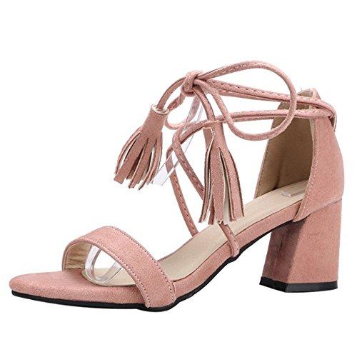 COOLCEPT Women Fashion Lace Up Sandals Block Heel Open Toe Shoes Tassel Pink