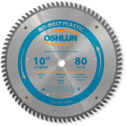 (Oshlun SBP-100080 10-Inch 80 Tooth MTCG Saw Blade with 5/8-Inch Arbor for Plastics)