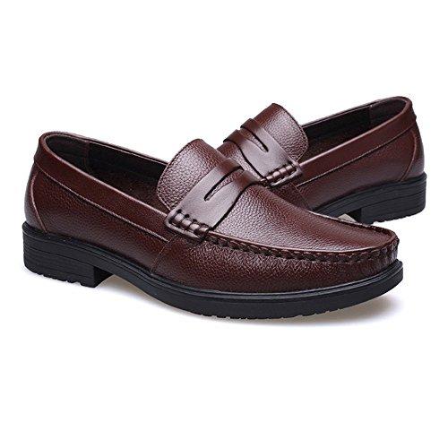Marron Cuero Suave tamaño Slip Forrada de Zapatos Marron Vaca shoes Zapatos Color on Hombre para Mocasines Piel EU de 2018 43 de Genuino Plana Hombre genuinos Suela Oscuro Oscuro Shufang Uvxgqaa