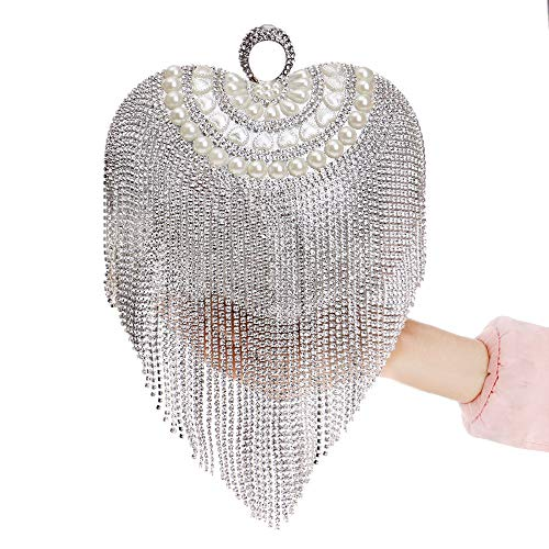 for amp; for Clutch Tassel Purse Cocktail Evening Bridal Wedding Clubs Golden Beaded Color Heart Jxth Women's Bag Drill Silver Bag Long Party Evening Clutch Prom Handbag with Wedding Handbag Shape q4OWPwZWBx