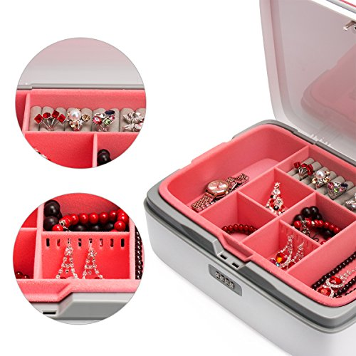 FINE DRAGON Professional Girly Make Up Cosmetic Jewelry Train Case Storage Box with Compartments and Lock (Red) by FINE DRAGON (Image #5)