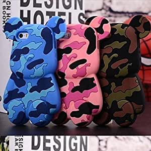 LX 3D Cute Camouflage Bears Pattern Designed Silicon Soft Case for iPhone 5/5S Cover Cases Color Pink
