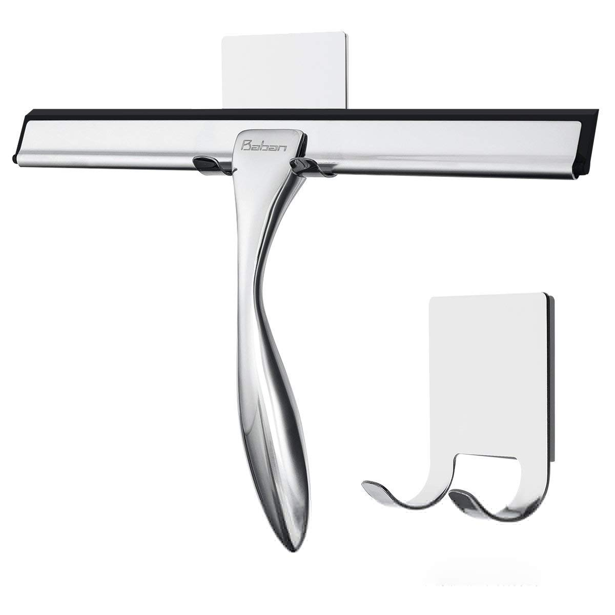Baban Shower Squeegee with 2 Strong Adhesive Holder Hooks, Stainless Steel Glass Squeegee Window Squeegee - All-Purpose Squeegee for Bathroom/Kitchen/Car Glass/Mirror/Shower Door, 9.6 Inch, Chrome by Baban