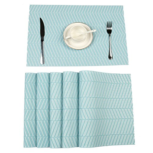 HEBE Placemats Set of 4 Kitchen Table Mats Non-Slip Washable Coffee Mats Heat Resistant Kitchen Tablemats For Dining Table Placemat Easy Clean(blue 2, (Light Blue Placemat)