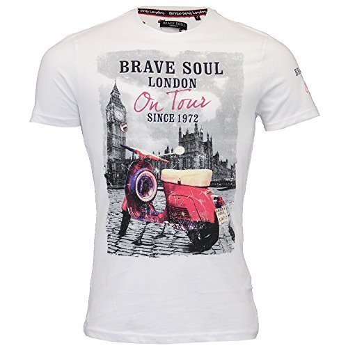 4032e131ee37ca Brave Soul Herren T-Shirt Vespa London Tour 1972 Aufdruck Kurzarm Top Sommer  - weiß