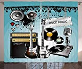 LQQBSTORAGE Rock Music Curtains,Concert Pattern Guitars and Records with Giant Speakers Ornamental Arrangement Tie Up Shades Rod Blackout Curtains 2 Panel Set W84 x L108/Pair Multicolor