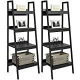 Cheap Best Choice Products Furniture Set Pair of 4-Shelf Ladder Bookcases- Black