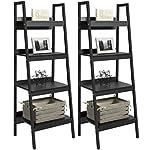 Best Choice Products Set of 2 4-Shelf Modern Open Wooden Ladder Bookcase Storage Display Organizer Decor w/ Metal Framing - Black