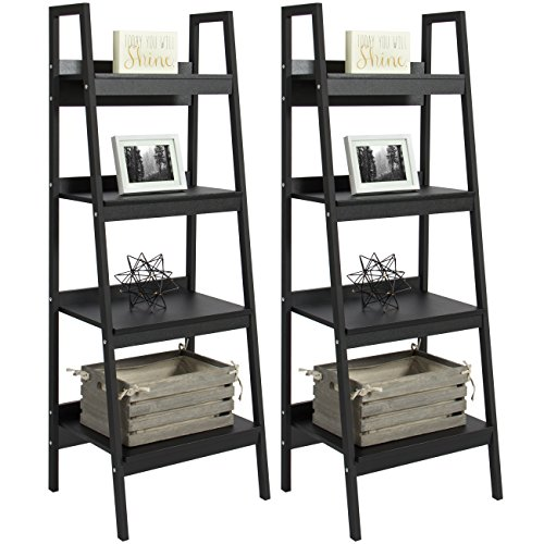 Best Choice Products Furniture Set Pair of 4-Shelf Ladder Bookcases- Black (Choice Next Furniture)