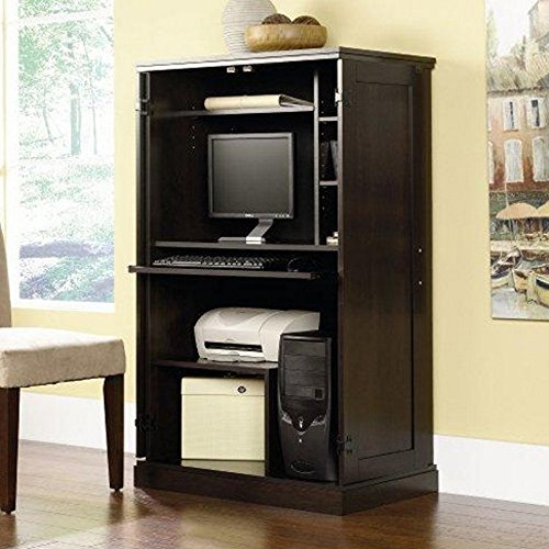 Computer Armoire Cherry With 3 Adjustable Shelves Desk Organizer Home Storage Office Wood Cabinet Cabin Furniture Armoires Keyboard Shelf NEW