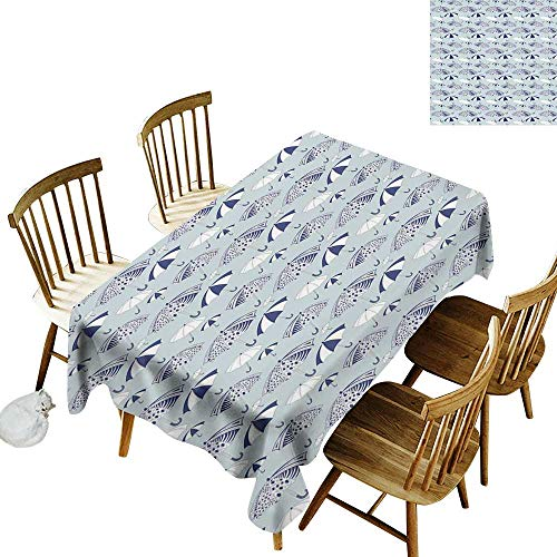 Umbrella Anti-wrinkle and anti-wrinkle polyester long tablecloth For weddings/banquets Artistic Canopies with Floral Geometrical and Abstract Patterns W52 x L70 Inch Navy Blue White Pale Grey