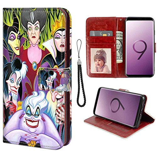 DISNEY COLLECTION Wallet Case for Galaxy S9 Plus (6.2in) Cartoon Characters Disney Villains Ladies Shockproof]()
