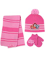 Nickelodeon girls Paw Patrol Hat, Scarf and Gloves Or Mittens Cold Weather Set Winter Accessory Set