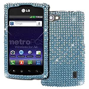 EMPIRE LG Optimus M+ MS695 Full Diamond Bling Hard Case Cover (Teal to Silver Fade) + USB 2.0 Data Cable + USB Car Charger Adapter + Screen Protector [EMPIRE Packaging]