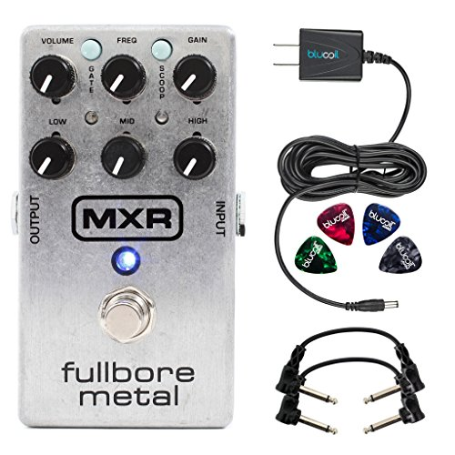 MXR M116 Fullbore Metal Distortion Pedal -INCLUDES- Blucoil Power Supply Slim AC/DC Adapter for 9 Volt DC 670mA, 2 Hosa CFS-106 Guitar Patch Cable AND 4 Guitar (Mxr Distortion Pedal)