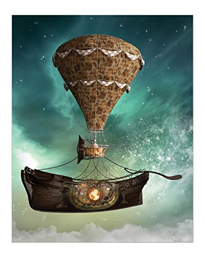 Steampunk Airship Fantasy Prints - Set of 4 (8 inches x 10 inches) Sci-Fi Photos - Stardust Space Wall Decor 4