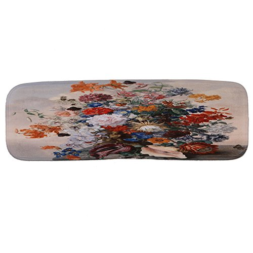 YGUII Wood with Red Flower Stair Treads Non-slip Carpet, Rectangle Stair Rugs Pads, Indoor Outdoor Beach Mats for Staircase, Set of 5 by YGUII (Image #2)