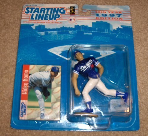 - 1997 - Kenner - Starting Lineup - 10th Anniversary - MLB - Hideo Nomo #16 - Los Angeles Dodgers - Vintage Action Figure - w/ Trading Card - Limited Edition - Collectible