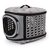 Foldable Pet Dog Carrier Cage Collapsible Travel Kennel - Portable Pet Carrier Outdoor Shoulder Bag for Puppy Dog Cat (L, Grey) Larger Image
