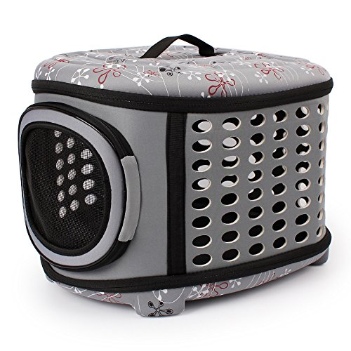 Foldable Pet Dog Carrier Cage Collapsible Travel Kennel - Portable Pet Carrier Outdoor Shoulder Bag for Puppy Dog Cat (L, Grey)