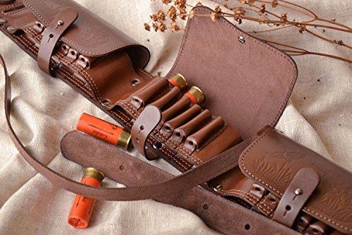 Closed handmade leather brown bandolier ammunition belt gift ideas men
