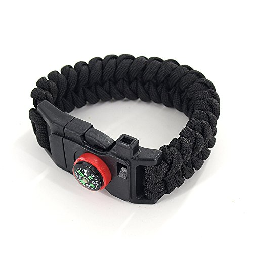 Dew Collection (DEW Survival Kit Traveling Camping Hiking Paracord Multi Tool Bracelet with Compass Whistle Buckle Firestone and Scraper for Outdoor Self-rescue (Black))