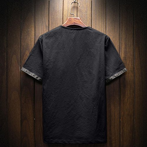 Pervobs Men Shirts, Men's Summer Casual Short Sleeve Linen and Cotton Solid V-Neck T-Shirt Top Blouse Tee (M, Black) by Pervobs Men Shirts (Image #2)