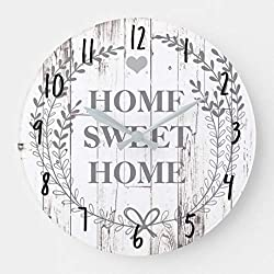 White Wood Rustic Farmhouse Home Sweet Home Nursery Wooden Wall Clock Battery Operated Roman Numerals Silent Non-Ticking 12 Inches Kids Clock