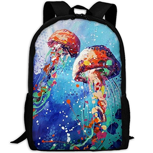Travel Backpack Laptop Backpack Large Diaper Bag - Watercolor Under Sea Ocean Jellyfish Backpack School Backpack For Women Men by SAPLA