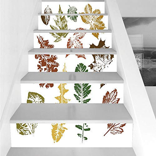 Stair Stickers Wall Stickers,6 PCS Self-adhesive,Leaf,Autumn Spring Maple Oak Various Tree Leaves in Grunge Style Art Decorative,Burgundy Brown and Forest Green,Stair Riser Decal for Living Room, Hall