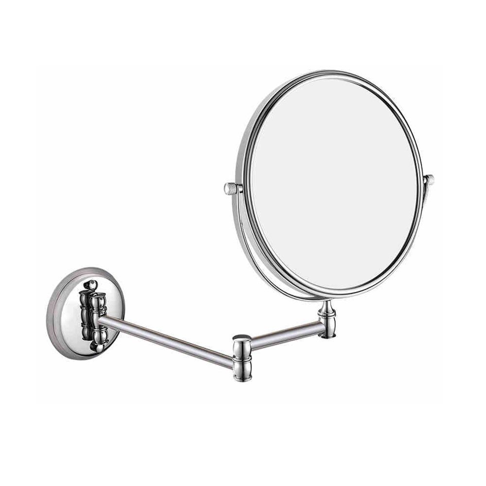 ZfgG Bathroom Mirror 3X Magnification + Normal Double-Sided Wall Mounted Vanity Mirror Swivel, Extendable and Chrome Finished (Color : Silver Brass, Size : 8inches)