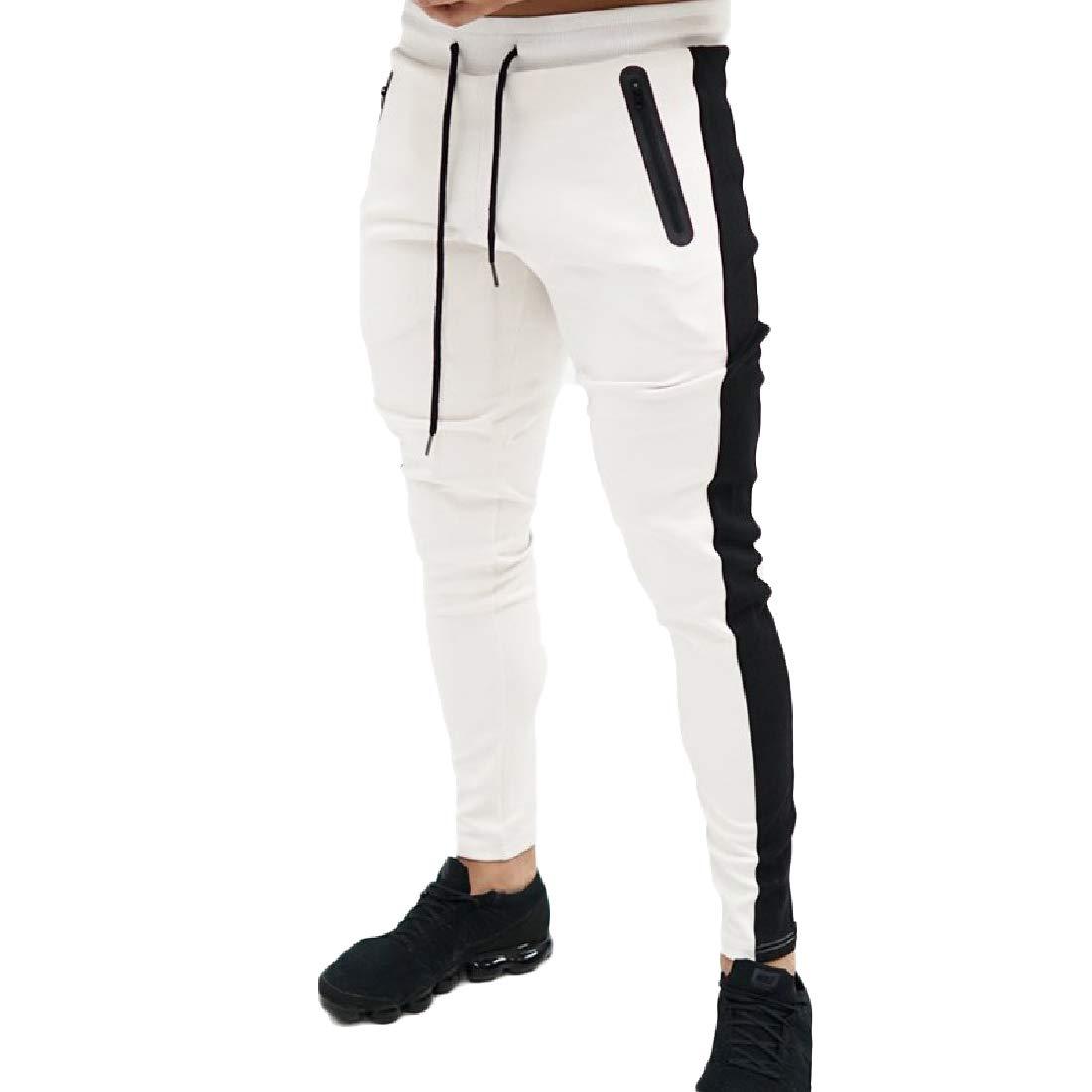 HEFASDM Men Harem Relaxed Fit Drawstring Sports Stretchy Joggers Pants