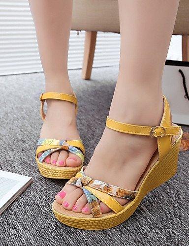 ShangYi mujer Casual aire con Toe Amarillo Azul Peep Zapatos para 516 plataforma Tacones al Vestido Amarillo libre Sandalias EOnBCdqw