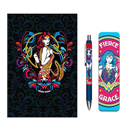 DC Comics Wonder Woman Diary Pen Office Supplies Set -- Wonder Woman Journal with Deluxe Pen and Bookmark (Wonder Woman Gifts for Women)]()